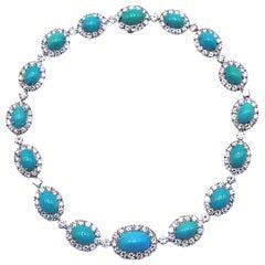 Van Cleef & Arpels Turquoise Diamond Platinum Choker Necklace