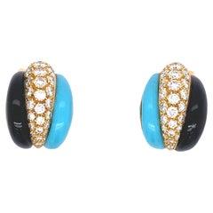 Van Cleef & Arpels Turquoise, Onyx and Diamond Earrings