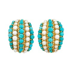 Van Cleef & Arpels Turquoise Pearls Earclips