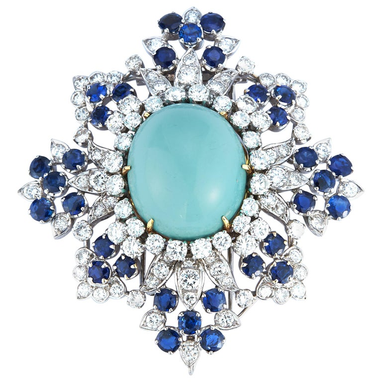 Van Cleef & Arpels Turquoise Sapphire and Diamond Brooch Pendant For Sale