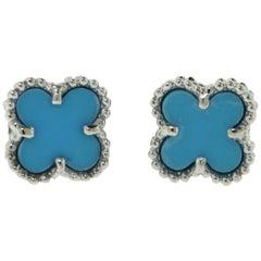 Van Cleef & Arpels Turquoise Sweet Alhambra Clover 18k White Gold Mini Ear Studs