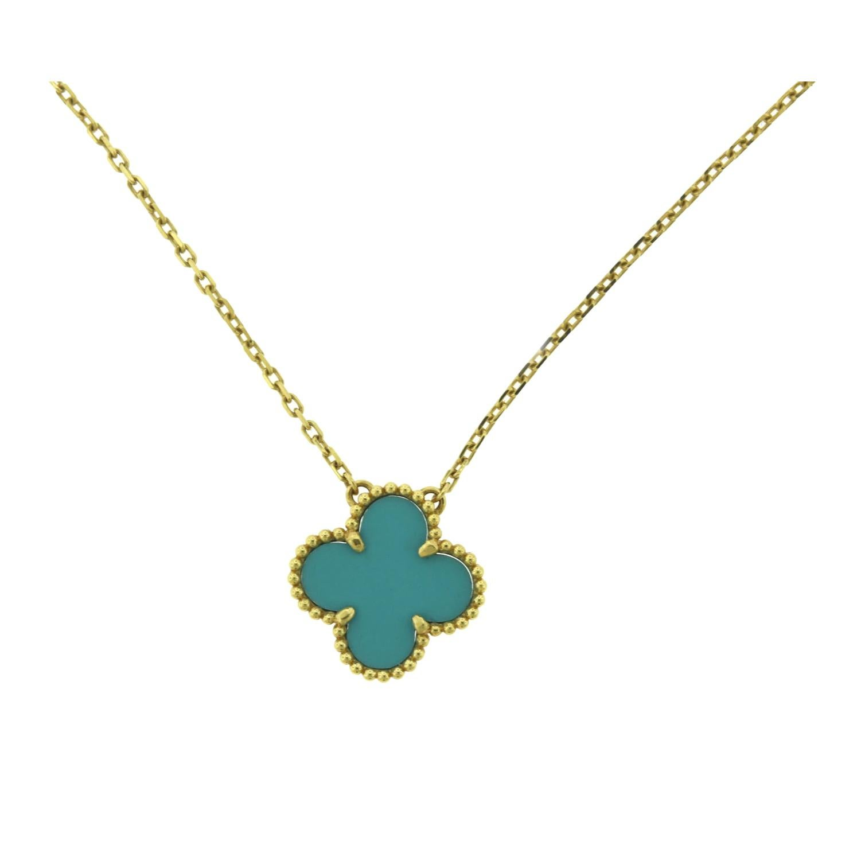 Van Cleef & Arpels Turquoise Vintage Alhambra 18k Yellow Gold Pendant Necklace