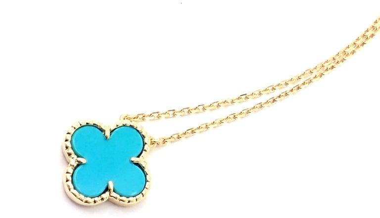 Uncut Van Cleef & Arpels Turquoise Vintage Alhambra Yellow Gold Pendant Necklace For Sale