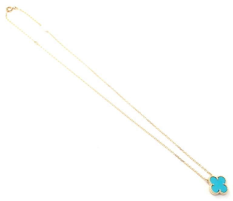 Van Cleef & Arpels Turquoise Vintage Alhambra Yellow Gold Pendant Necklace For Sale 1