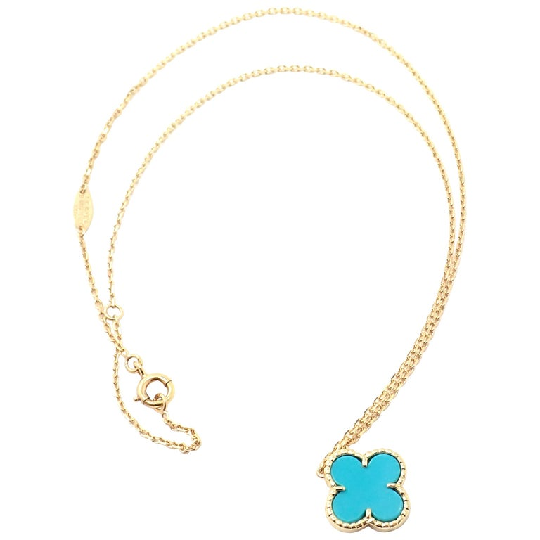Van Cleef & Arpels Turquoise Vintage Alhambra Yellow Gold Pendant Necklace For Sale
