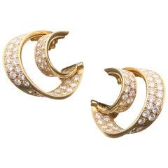Van Cleef & Arpels, Twin Hoop Diamond Earrings, 1980