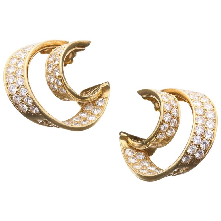 Van Cleef & Arpels, Twin Hoop Diamond Earrings, 1980 For Sale