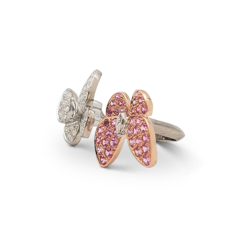 Round Cut Van Cleef & Arpels 'Two Butterfly' Between-the-Finger Ring For Sale