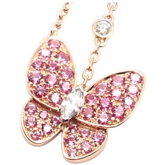 Van Cleef & Arpels Two Butterfly Diamond Pink Sapphire Gold Pendant Necklace