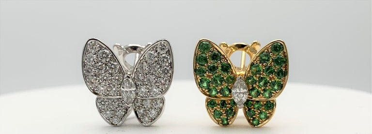Round Cut Van Cleef & Arpels Two Butterfly Gold Diamond and Tsavorite Earrings For Sale