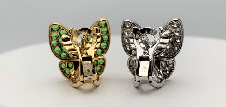 Women's Van Cleef & Arpels Two Butterfly Gold Diamond and Tsavorite Earrings For Sale