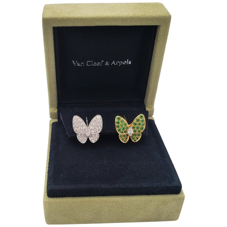 Van Cleef & Arpels Two Butterfly Gold Diamond and Tsavorite Earrings For Sale