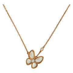 Van Cleef & Arpels Two Butterfly Rose Gold Mother of Pearl with Diamond Pendant