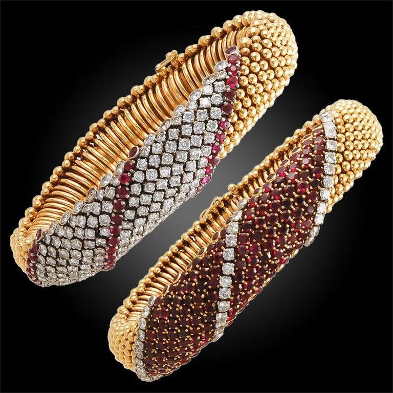 Women's or Men's Van Cleef & Arpels Pair Ruby Diamond Cous Cous Bracelets For Sale