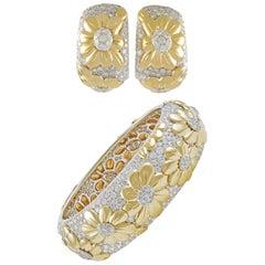 Van Cleef & Arpels Two-Tone Diamond Flower Motif Bangle and Earrings