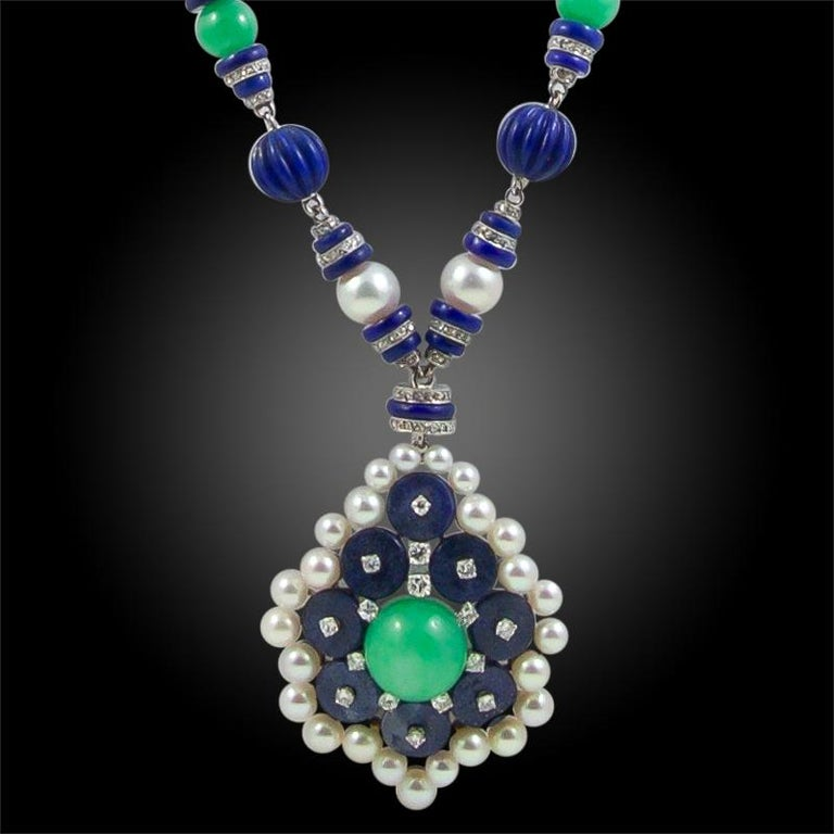 Platinum and 18k gold diamond, Jadeite Jade, Lapis Lazuli and pearl necklace, signed Van Cleef & Arpels Makers marks and French Assay marks circa 1930s