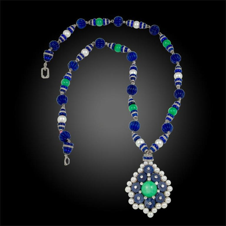 Van Cleef & Arpels Two-Tone Jadeite Jade, Lapis Lazuli, Diamond Pearl Necklace In Good Condition For Sale In New York, NY