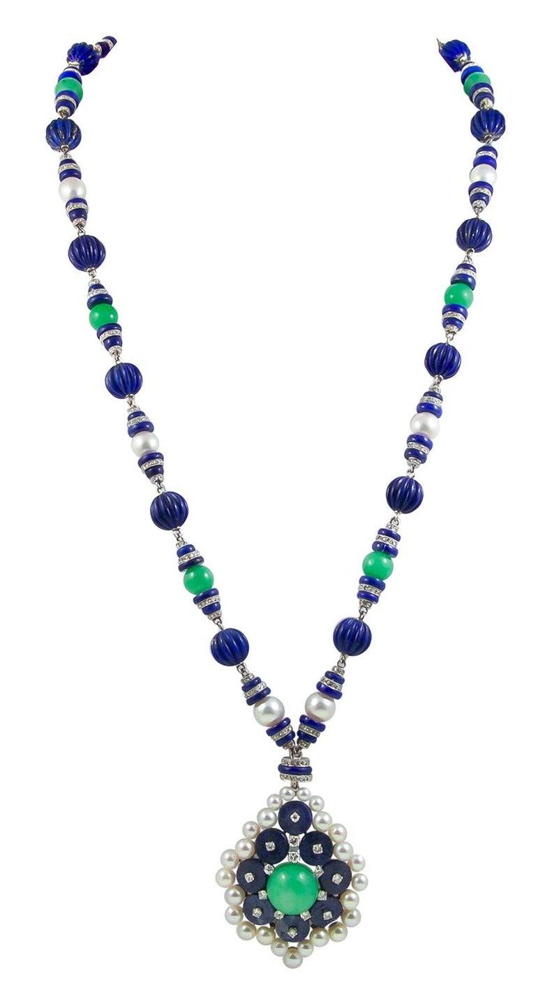 Women's Van Cleef & Arpels Two-Tone Jadeite Jade, Lapis Lazuli, Diamond Pearl Necklace For Sale