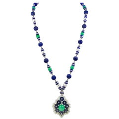 Van Cleef & Arpels Two-Tone Jadeite Jade, Lapis Lazuli, Diamond Pearl Necklace