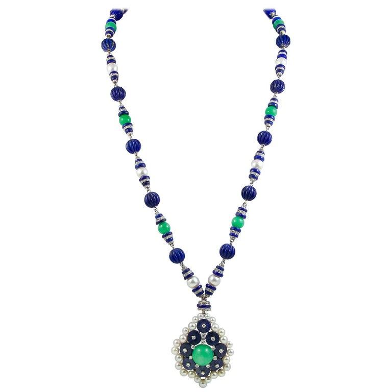 Van Cleef & Arpels Two-Tone Jadeite Jade, Lapis Lazuli, Diamond Pearl Necklace For Sale