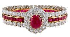 Van Cleef & Arpels Two-Tone Ruby Diamond Bangle