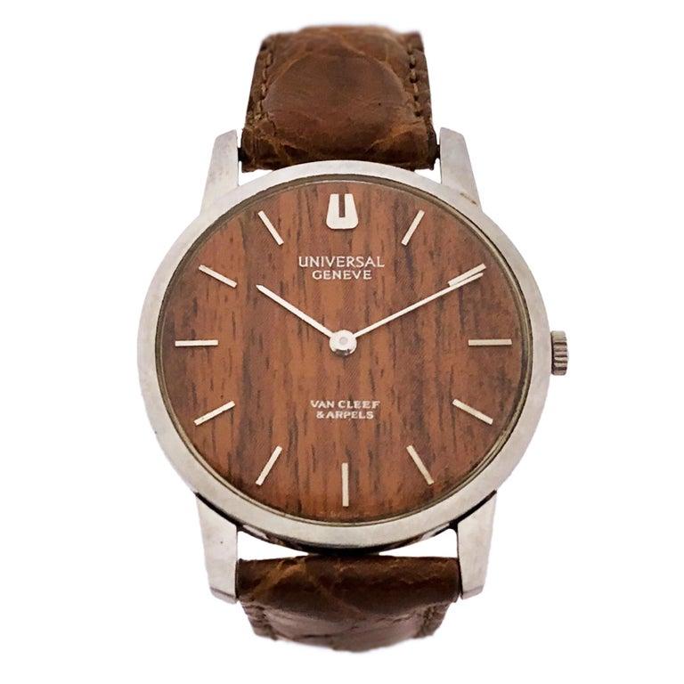 Van Cleef & Arpels Universal Geneve Wood Dial Steel Mechanical Wristwatch For Sale