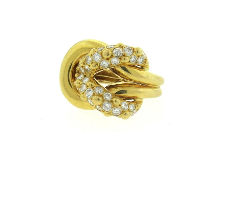 Round Cut Van Cleef & Arpels VCA 1.20 Carat Diamond Knot Ring For Sale