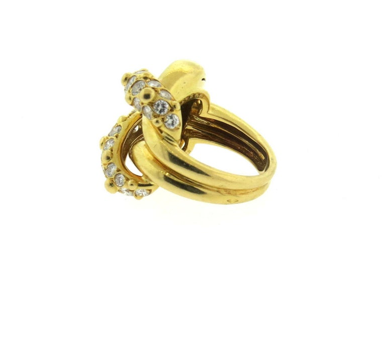Van Cleef & Arpels VCA 1.20 Carat Diamond Knot Ring In Excellent Condition For Sale In Boca Raton, FL