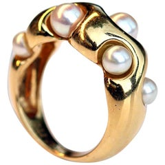 Van Cleef & Arpels 'VCA' 18 Karat Gold and Cultured Pearl Ring