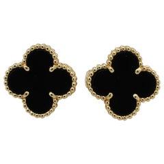 Van Cleef & Arpels VCA 18 Karat Vintage Alhambra Black Onyx Earrings
