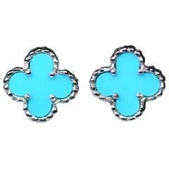 Van Cleef & Arpels VCA Alhambra Turquoise Earrings in 18 Karat Gold