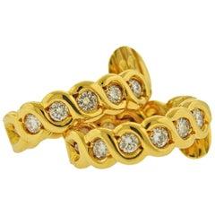 Van Cleef & Arpels VCA Inside Out Diamond Gold Hoop Earrings