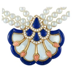 Van Cleef & Arpels Vintage 0.80 ct Diamond, Pearl, Coral and Lapis Gold Necklace