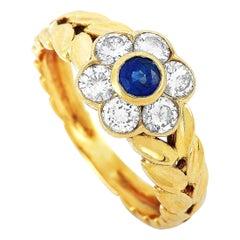 Van Cleef & Arpels Vintage 18 Karat Gold 0.64 Carat Diamond and Sapphire Ring