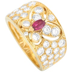 Van Cleef & Arpels Vintage 18 Karat Gold 1.50ct Diamond and Ruby Butterfly Ring