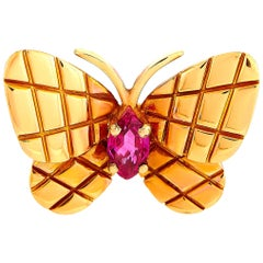 Van Cleef & Arpels Vintage 18 Karat Rose Gold and Ruby Butterfly Brooch