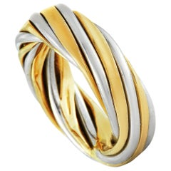 Van Cleef & Arpels Vintage 18 Karat White and Yellow Gold Band Ring
