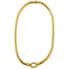 Van Cleef & Arpels Vintage 18 Karat Yellow Gold 0.61 Carat Diamond Necklace
