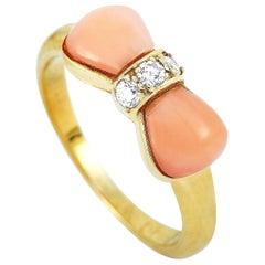 Van Cleef & Arpels Vintage 18 Karat Yellow Gold Diamond and Coral Bow Ring