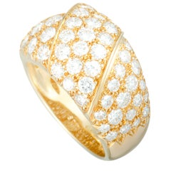Van Cleef & Arpels Vintage 18 Karat Yellow Gold Diamond Pave Wide Band Ring