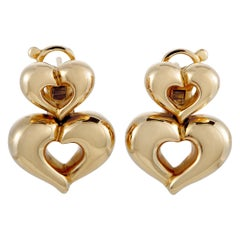 Van Cleef & Arpels Vintage 18 Karat Yellow Gold Double Heart Earrings