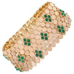 Van Cleef & Arpels Vintage 18 Karat Yellow Gold Emerald Mesh Bracelet