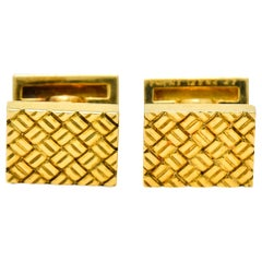 Van Cleef & Arpels Vintage 18 Karat Yellow Gold Woven Men's Cufflinks