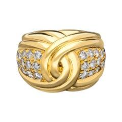 Van Cleef & Arpels, Vintage 18ct Yellow Gold & Pavé Diamond Bombe Ring C 1969