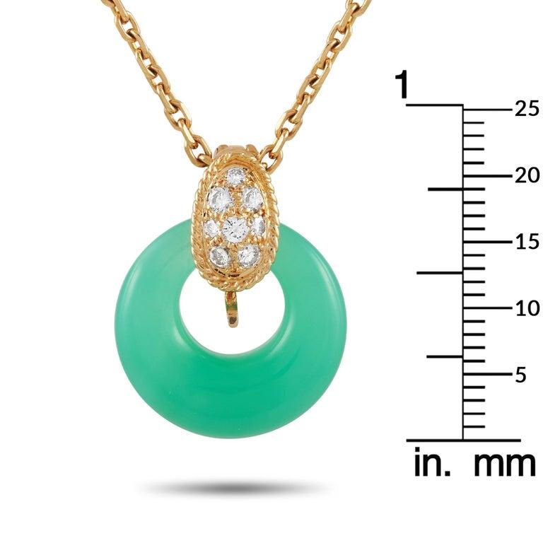 Women's Van Cleef & Arpels 18 Karat Gold 0.20 Carat Diamond and Chrysoprase Necklace