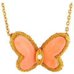 Van Cleef & Arpels Vintage 18k Gold Diamond and Coral Butterfly Pendant Necklace