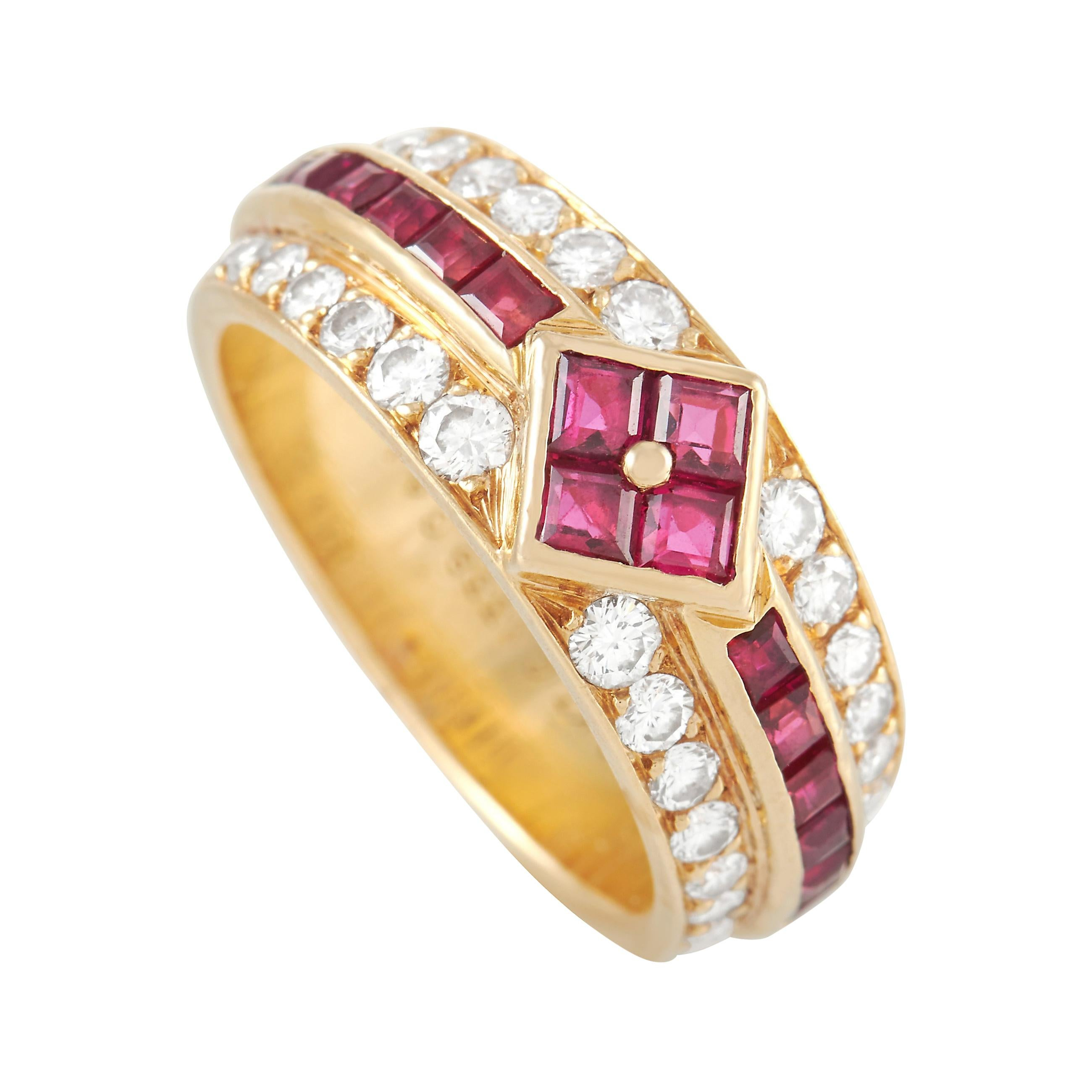 Van Cleef & Arpels Vintage 18k Yellow Gold 0.58 Ct Diamond and 1.10 Ct Ruby Ring