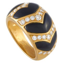 Van Cleef & Arpels 18 Karat Yellow Gold 0.60 Carat Diamond and Onyx Ring
