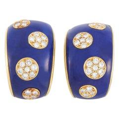 Van Cleef & Arpels Vintage 18k Yellow Gold 0.60 Ct Diamond Enamel Huggie Clip-On