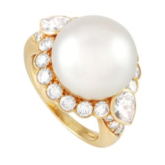 Van Cleef & Arpels Vintage 18k Yellow Gold 2 Ct Diamond and Pearl Statement Ring